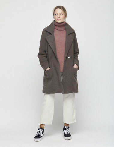 Taupe shearling coat - Outwear clothing - Nícoli