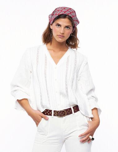 Camisa escote pico encajes cruda - Ver todo > - Nícoli