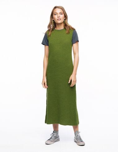 Vestido largo canalé verde - Vestidos - Nícoli