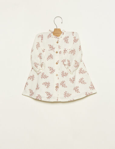 White perkins collar dress with pink floral details - View all > - Nícoli