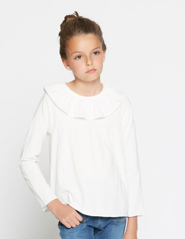 Girl's white ruffle blouse - View all > - Nícoli