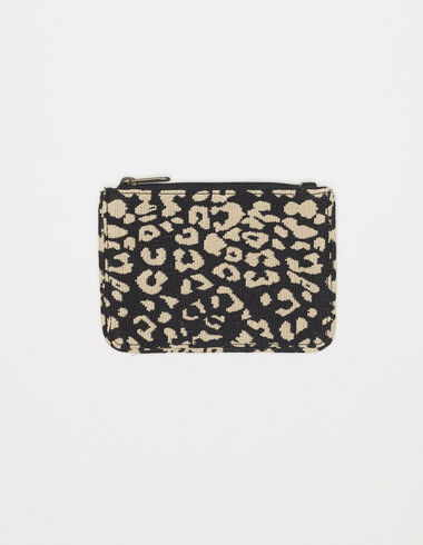 Black animal print jacquard coin purse - View all > - Nícoli