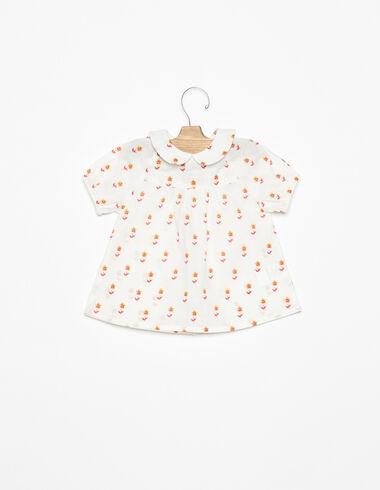 Chemise col Claudine fleurs petites fraise - Chemises - Nícoli