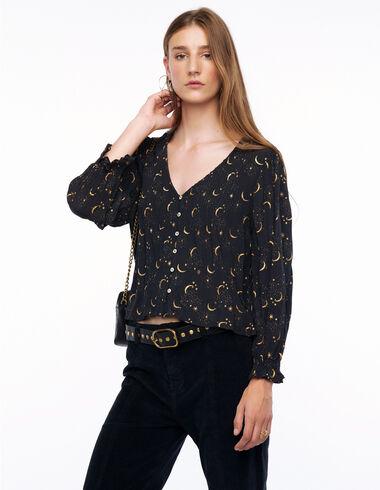 Anthracite moon V-neck pin-tuck shirt - More than Black Looks - Nícoli