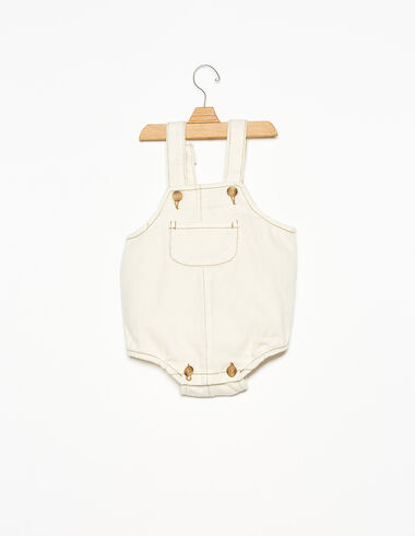 Short ecru baby dungarees with pocket - View all > - Nícoli