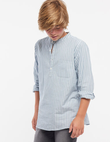 Blue mao shirt ecru/green stripes - View all > - Nícoli