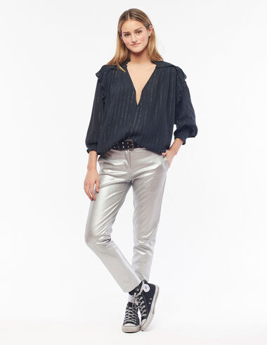 Silver baggy trousers - View all > - Nícoli