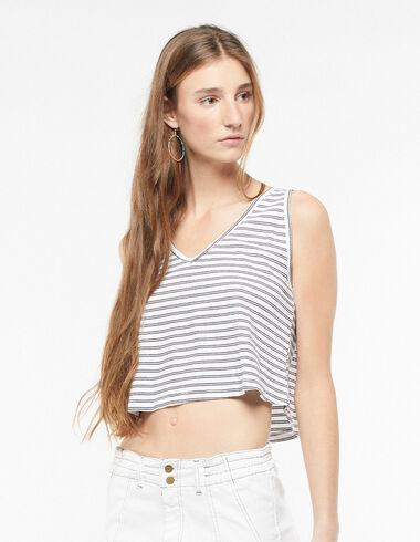 Camiseta sin mangas raya blanca y antracita - The Summer Denim - Nícoli
