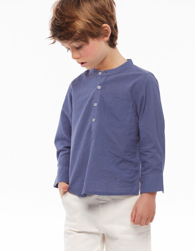 Chemise col Mao poche bleu indigo - Chemises - Nícoli