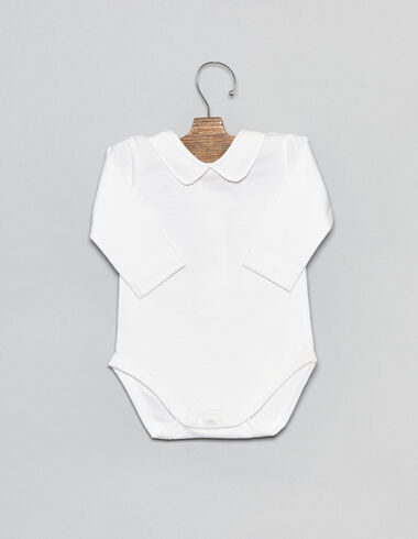 White cotton v-neck baby bodysuit - View all > - Nícoli