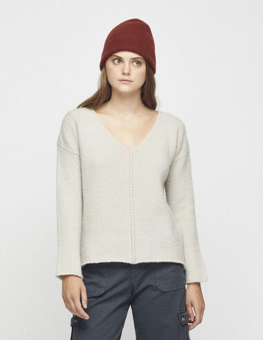 Women´s beige v-neck jumper - View all > - Nícoli