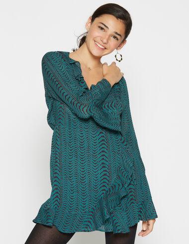 Robe verte zébrée croisée pour filles - Robes - Nícoli