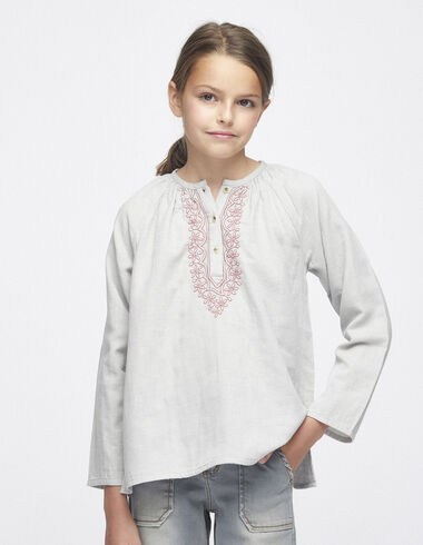 Taupe embroidered blouse with buttons - Shirts - Nícoli