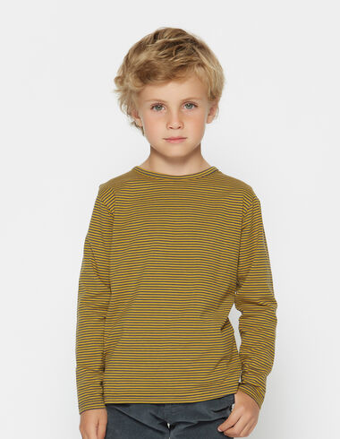 Boy's mustard striped top with elbow patches - T-Shirts - Nícoli