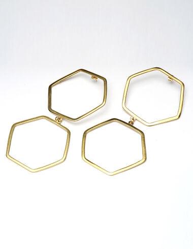 Boucles d'oreilles dorées double hexagone - The Jewellery Edit - Nícoli