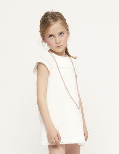 Vestido encajes jaretas blanco - Primera Comunión-OCULTA - Nícoli