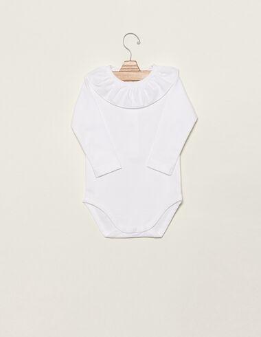 White ruffle neck bodysuit - Clothing - Nícoli