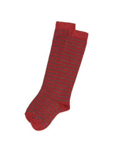 Grey and terracotta striped socks - All About Socks - Nícoli