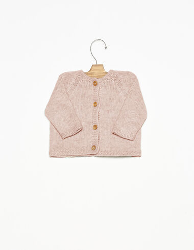 Pink cardigan with wooden buttons - View all > - Nícoli