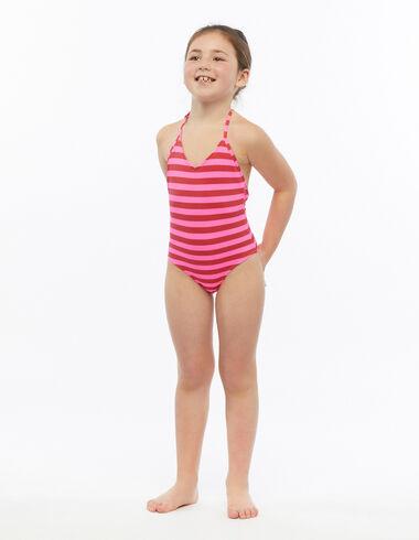 Maillot de bain fille rayures rouge et fuchsia - Pink & White - Nícoli