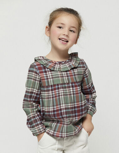 Tartan ruffle neck blouse - New in - Nícoli