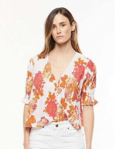 Camisa escote pico jaretas flor grande naranja - Camisas y Tops - Nícoli