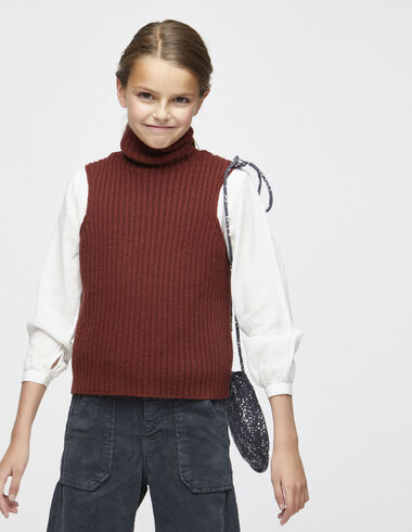 Terracotta ribbed vest - Waistcoats - Nícoli