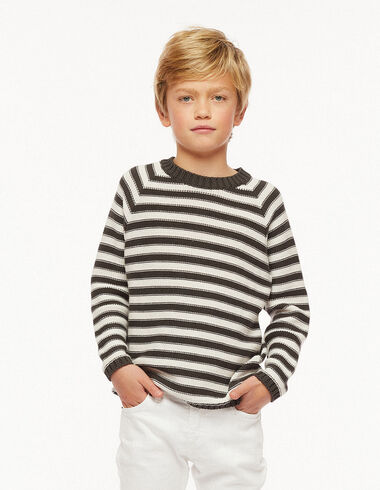Anthracite and ecru striped jumper - Jumpers & Sweatshirts - Nícoli