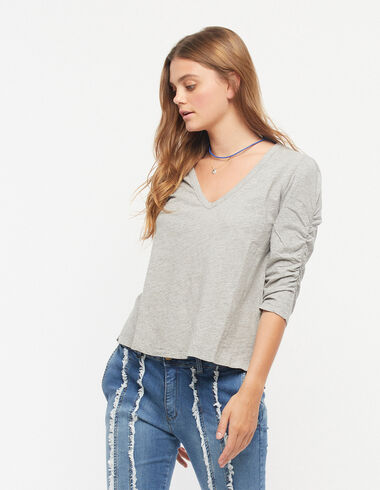 Grey puff sleeve top - View all > - Nícoli