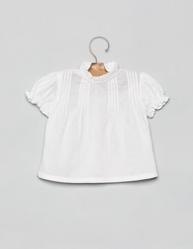 White baby blouse with pintucks - View all > - Nícoli