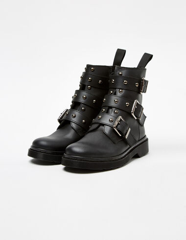 Black boots with stud buckles - Shoes - Nícoli
