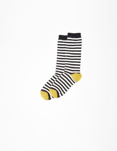 Chaussettes rayées gris/anthracite  - Chaussettes - Nícoli