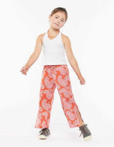 Red paisley trousers with slits - Pink & White - Nícoli