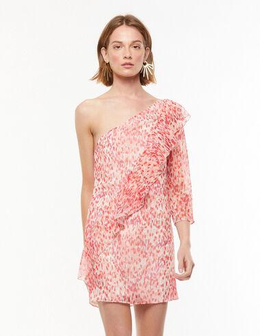 Vestido asimétrico volante print rosa - Vestidos - Nícoli