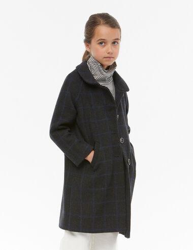 Blue checkered round-neck coat - Mid-season coats - Nícoli