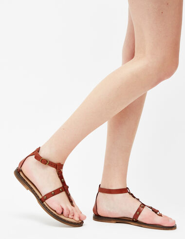 Women's gold stud tan lace-up sandals - Footwears - Nícoli