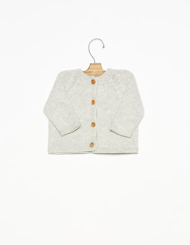 Light grey cardigan with wooden buttons - View all > - Nícoli