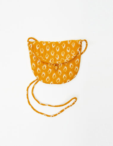 Round mustard leaf print crossbody bag - View all > - Nícoli