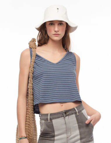Blue and anthracite striped sleeveless t-shirt - T-shirts - Nícoli