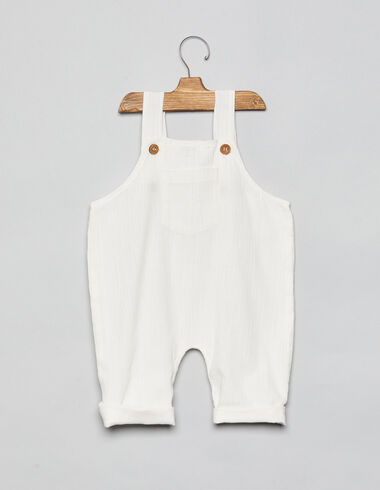 White baby dungarees with pocket - Playsuits & Dungarees - Nícoli