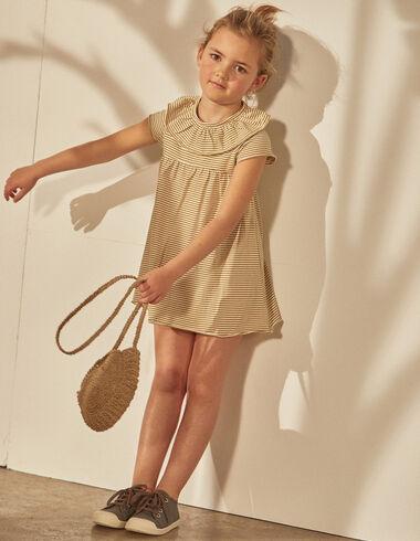 Vestido niña cuello volante rayas mostaza - Vestidos - Nícoli