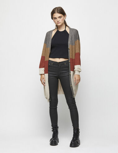 Sparkly striped long cardigan - Clothing - Nícoli