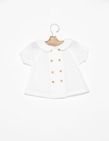 Camisa cuello bebé botones blanca - Blue Like the Sea - Nícoli