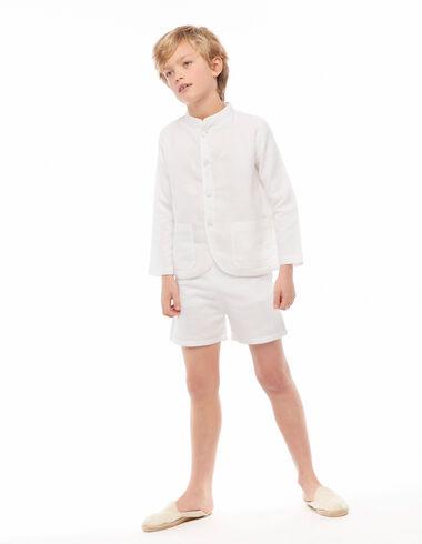 Pantalon court lin blanc - Bermudas - Nícoli