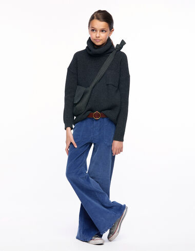 Blue corduroy wide leg trousers with pockets - View all > - Nícoli