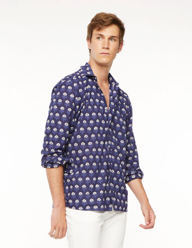 Blue buti V-neck shirt - Shirts - Nícoli