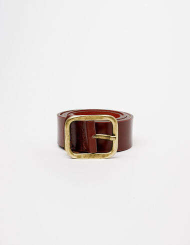 Brown squared buckle belt - Belts - Nícoli