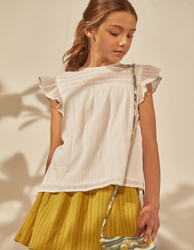 Girl's white lace blouse - Shirts - Nícoli