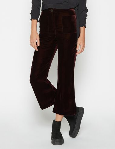 Girl's burgundy velvet trousers with pockets - Trousers - Nícoli