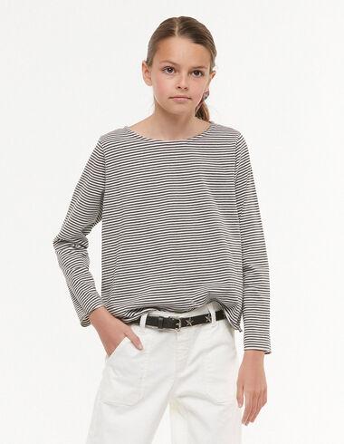 Ecru/Anthracite striped t-shirt - View all > - Nícoli